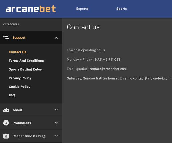 Arcanebet support