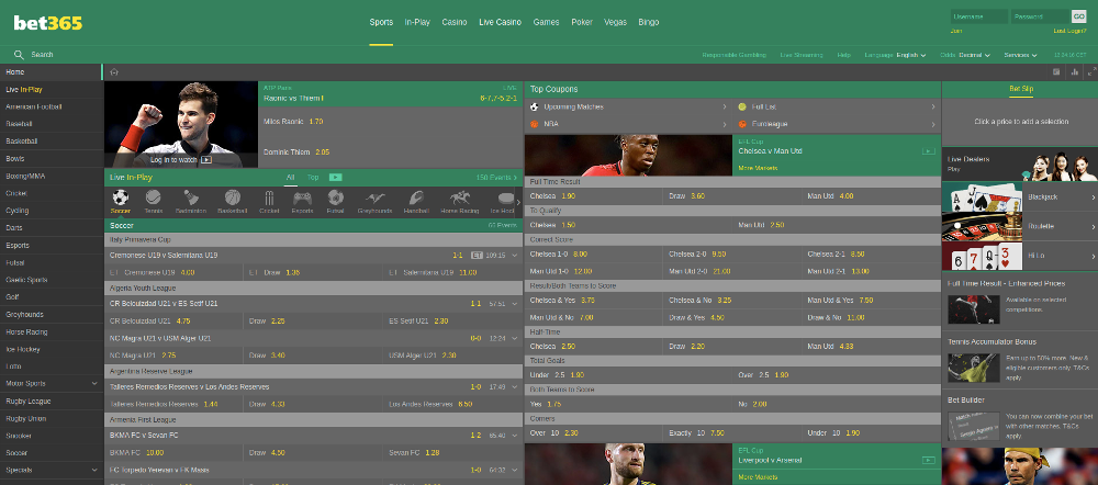 Bet365 homepage screenshot with all featureas avialable
