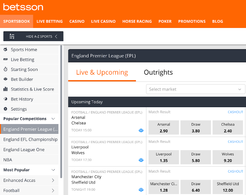 Betsson best odds and markets