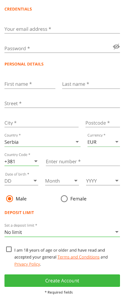 How to open an account at Betsson?