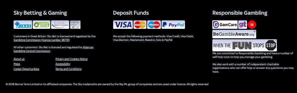 SkyBet deposit options