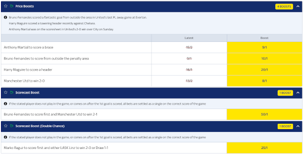 SkyBet odds and markets